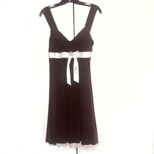 My Michelle Brown Dress with Lace Trim Sz L